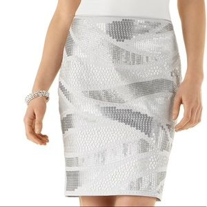 WHBM Gray/Silver Sequin Pencil Skirt (Sz 2)